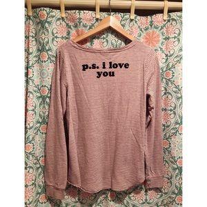 "JUNK FOOD ""P.S. I LOVE YOU"" striped top shirt tee"